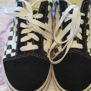 Youth girls size 3 black and white vans